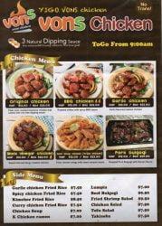 Von's Oven Chicken menu